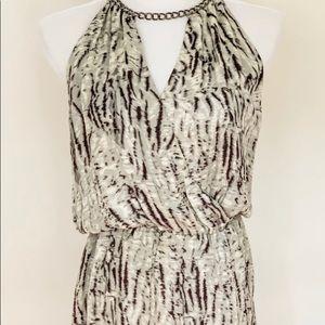 Parker Printed Silk Chain Neck Dress
